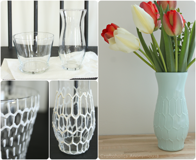 Hexagon vase tutorial. all you need is puffy paint and spray paint! Click for more details.