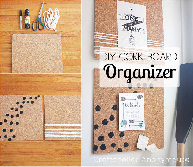 DIY Cork Board Organizer - fun office storage!