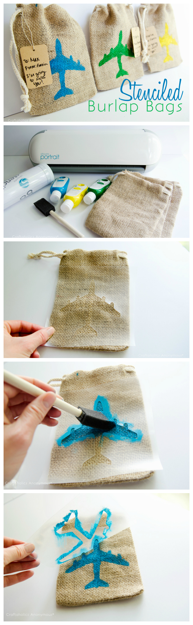 DIY stenciled burlap bags. How cute would these be for a party or baby shower?!