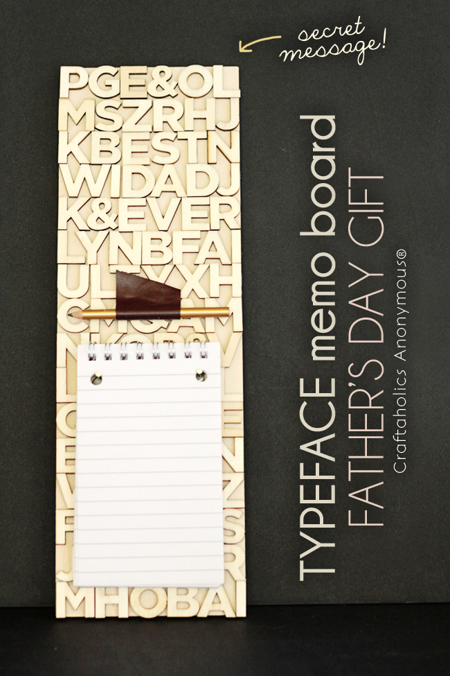 Father's Day Gift - Typeface Memo Board. Love the pairing of typography and leather. perfect for any man!