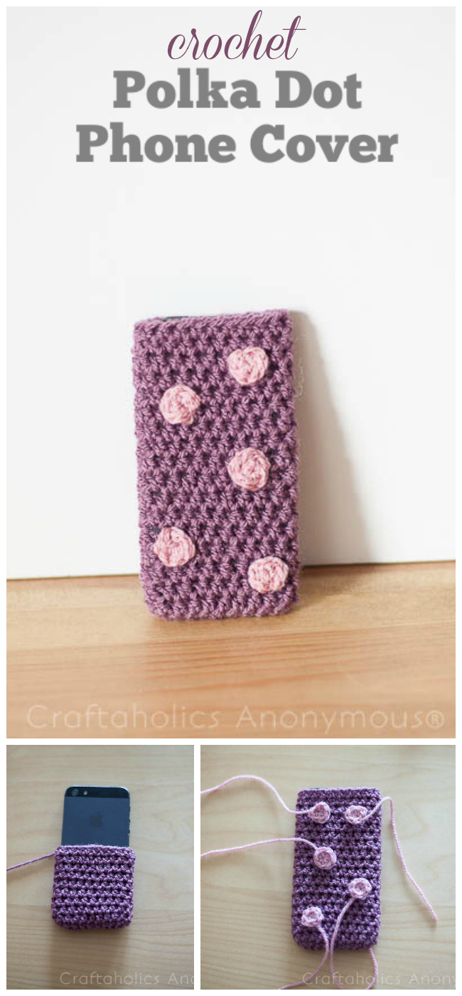 crochet polka dot phone cover. Super cute and easy to make! #crochet #pattern #polka_dots