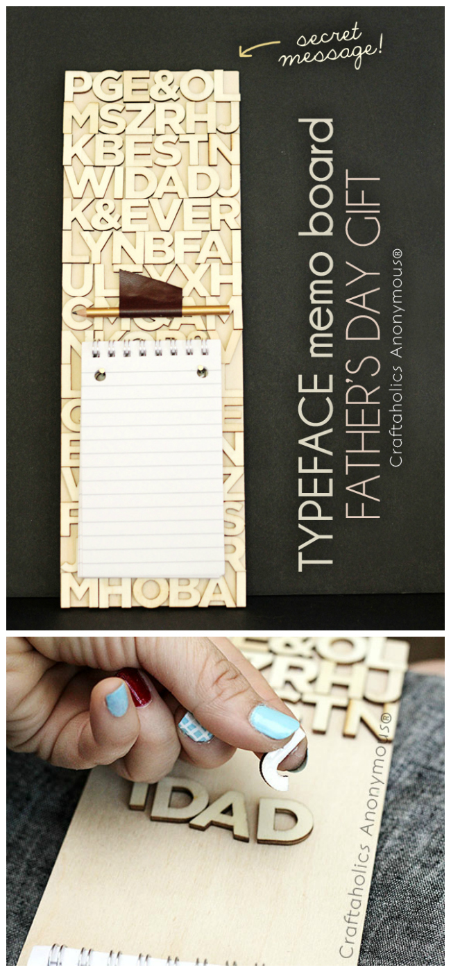 handmade father's day gift - secret message typeface memo board on CraftaholicsAnonymous.net
