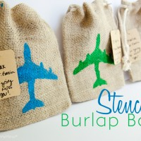 Easy Stenciled Burlap Bags