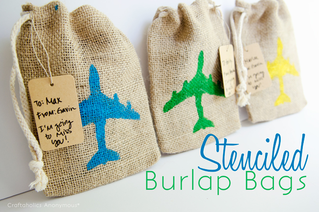 Stenciled Burlap Bags. So cute and easy to make! Great gift idea. Fill with candy or goodies.