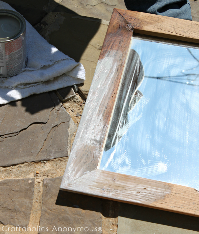 diy weathered mirror
