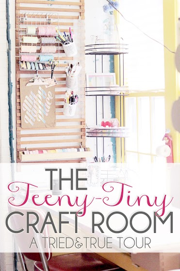 Small Craft room with great ideas for storage. She utilizes every tiny inch that she has. Its amazing!