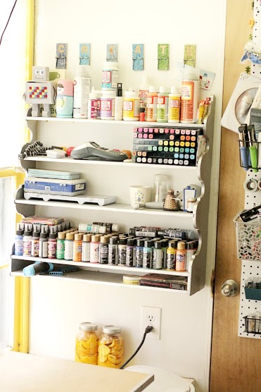 craft paint storage ideas + loads of great small space storage ideas.