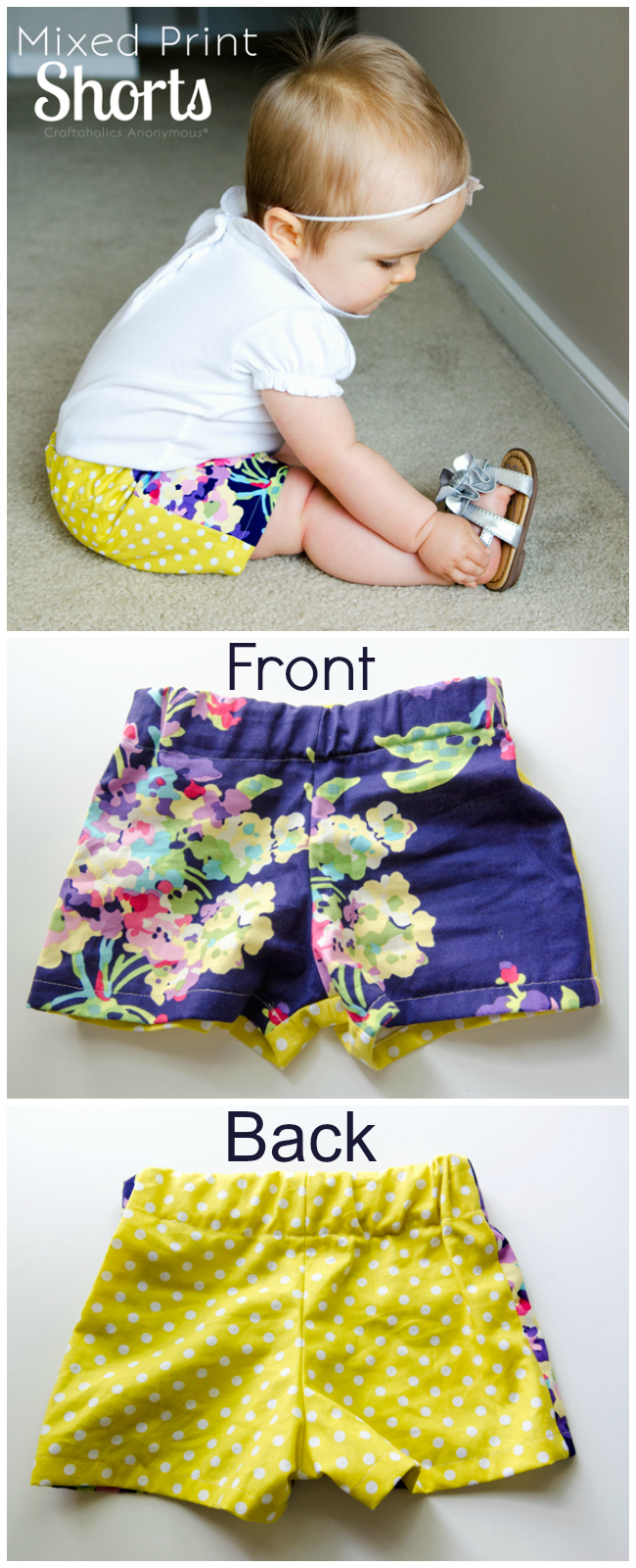 Mixed Print Shorts. These are freakin cute! And so easy to do. No pattern needed! via @CraftaholicAnon