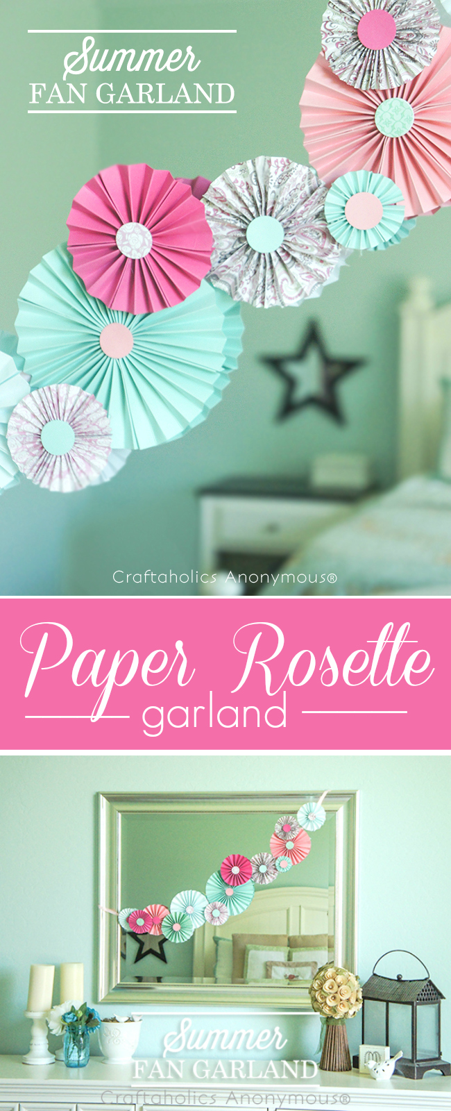 Summer Paper rosette garland. Easy DIY garland. These are great for parties or everyday decor.
