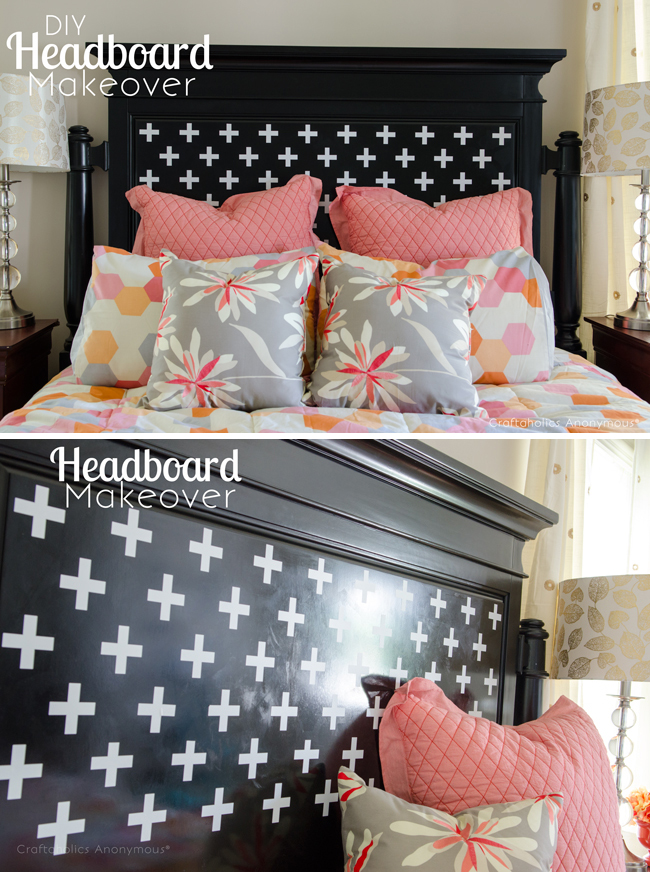 DIY Headboard makeover. love the colors she used!