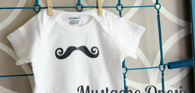 DIY Mustache onesie. Cute, easy to make. Pair it with a couple burp cloths and you have a cute handmade baby shower gift!