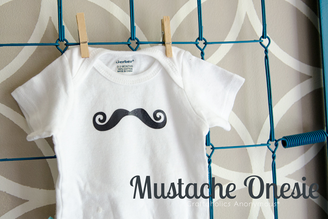 Mustache onesie tutorial. Cute handmade baby shower gift idea for a baby boy!
