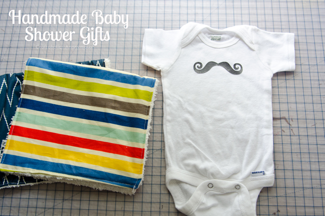 handmade baby shower gifts for a baby boy. love the fabrics on the burp cloths.