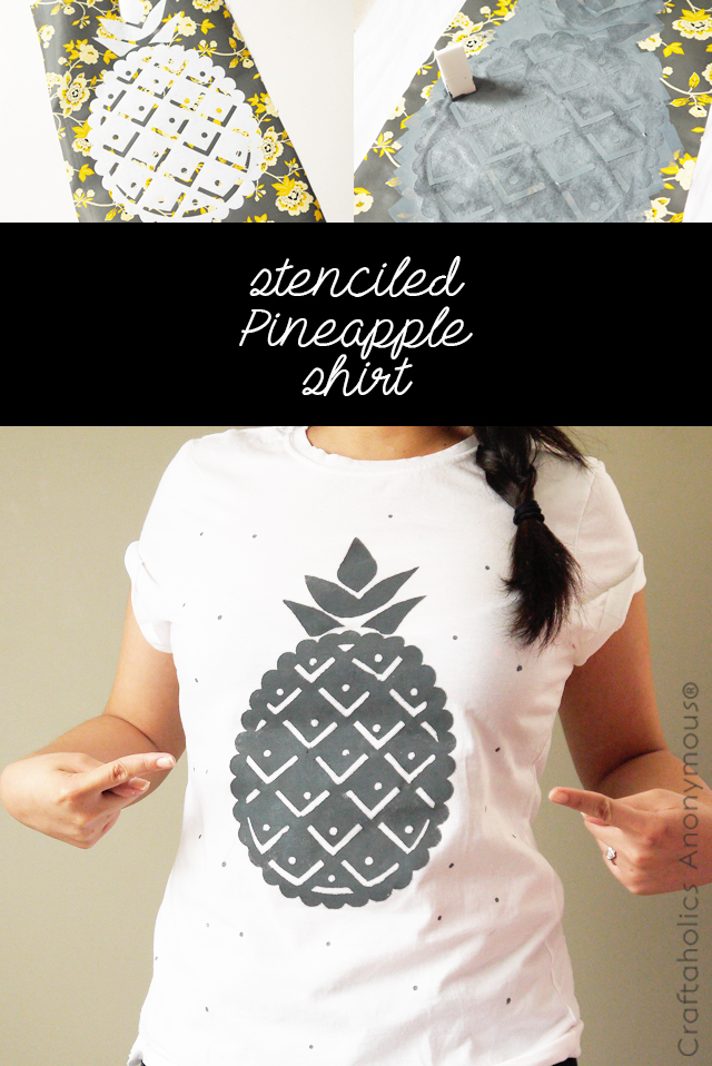Make this cute stenciled pineapple tee for summer!