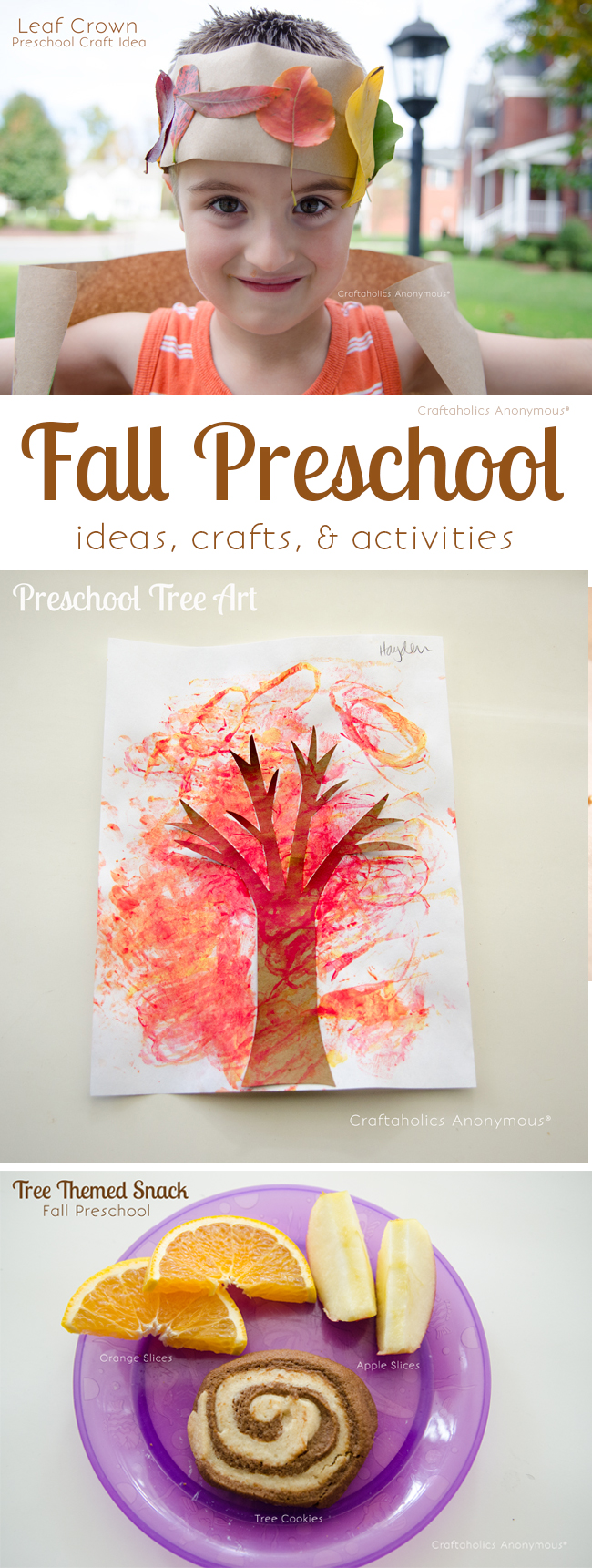Tree Themed Preschool for Fall. Crafts, Snack, and Activity ideas!