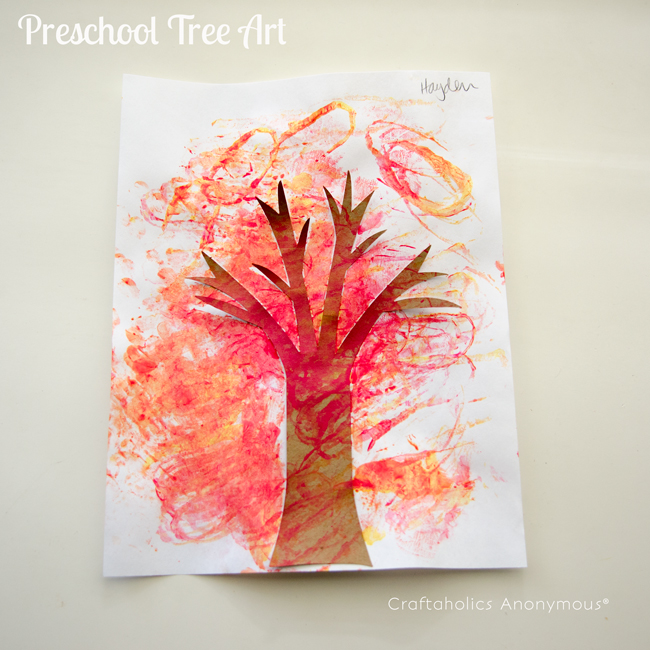 Tree art for preschool using toilet paper rolls