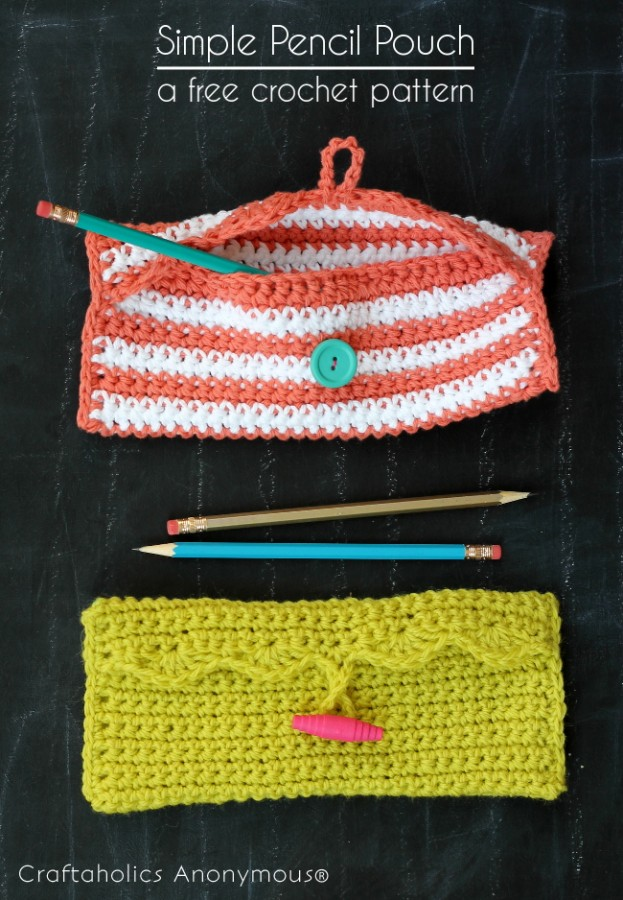 Simple crochet pencil pouch - great back to school project!