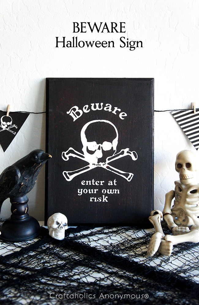 BEWARE Halloween Sign on www.craftaholicsanonymous.com #halloween #silhouettecameo