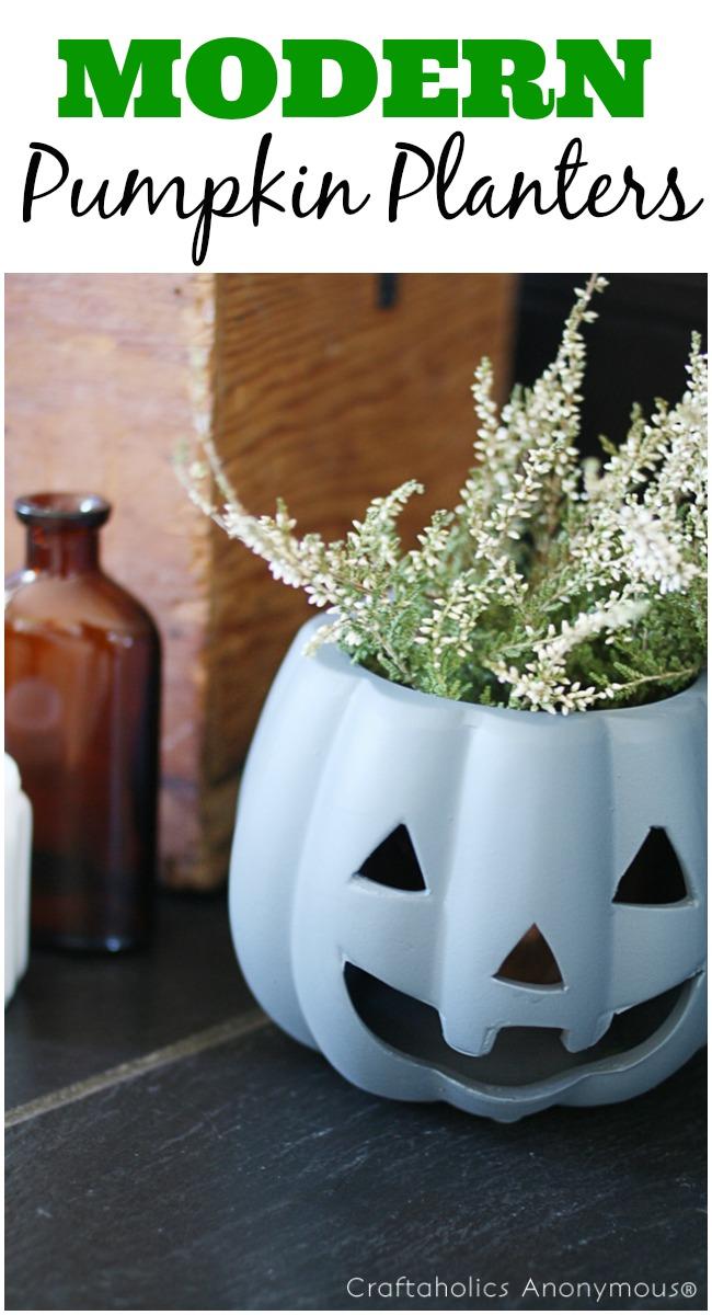 DIY Pumpkin Planters with a modern twist! Cheap Halloween decor.