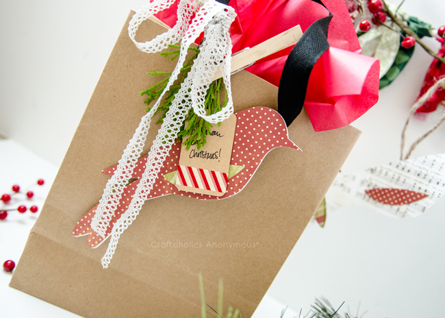 Simple Paper bird Gift Topper or handmade Christmas ornament. Add some greenery and lace for a fabulous look!