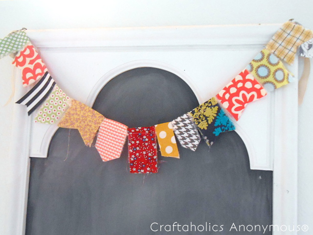 craftaholics fabric scrap garland -- finished