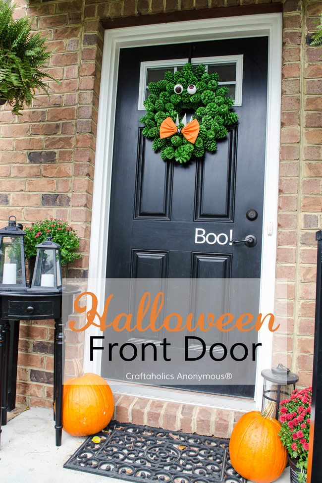 Halloween door - Monster Wreath, Boo vinyl decal, pumpkins, and mums. So easy, so cute!