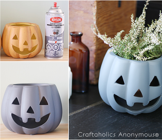 DIY Halloween Decor- turn a dollar store candle holder into a modern Jack-o-lanter planter in a matter of minutes!