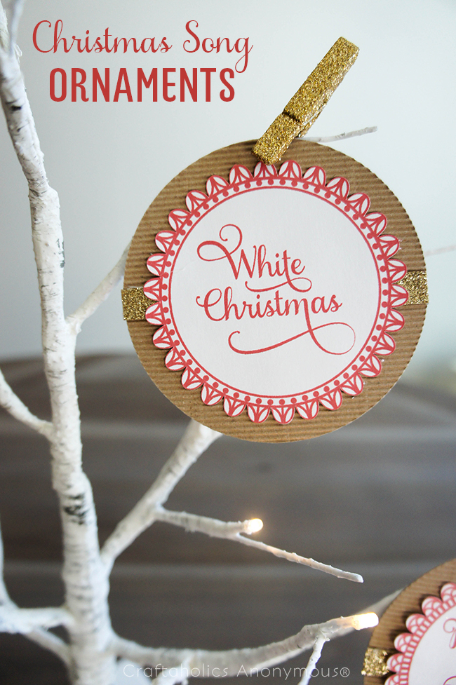 Beautiful Handmade Christmas Song Ornaments. Download the free printable!