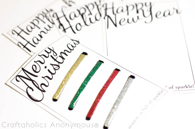 Glittered Hairpins Easy Holiday Gift - Printables