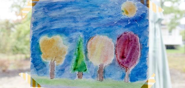 fall kid craft - watercolor art