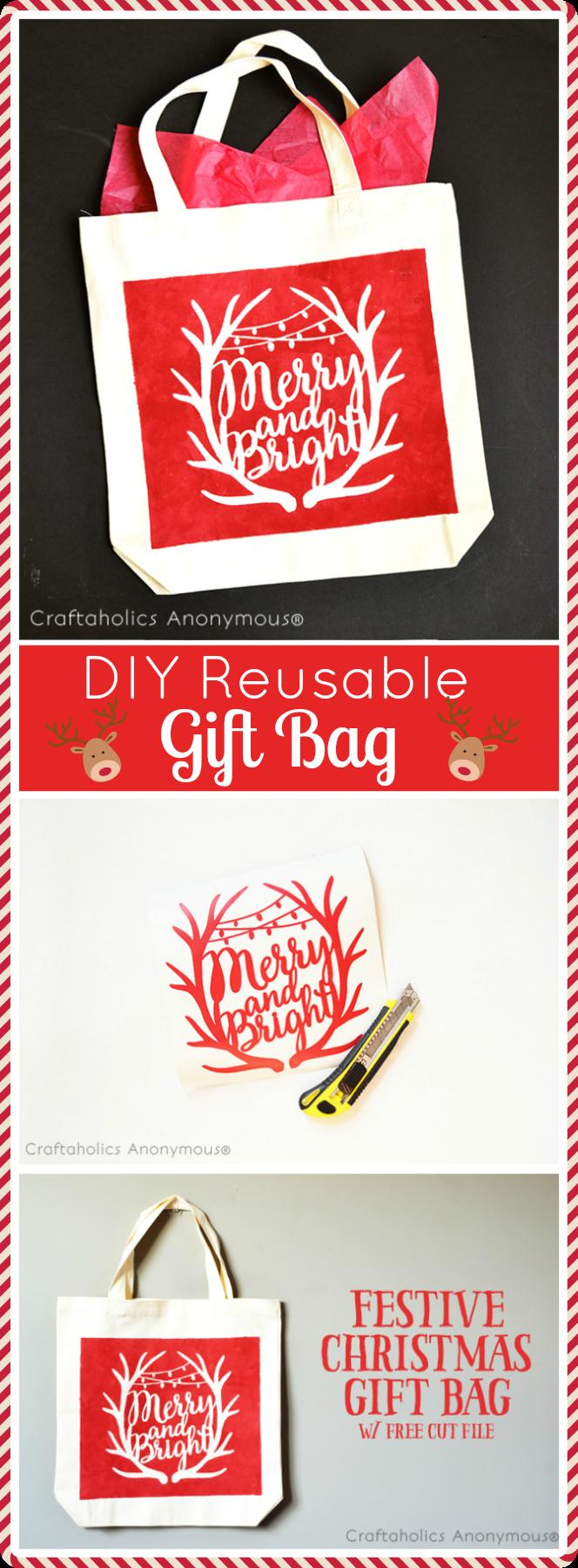 diy reusable gift bag. Make custom Christmas Gift bags!