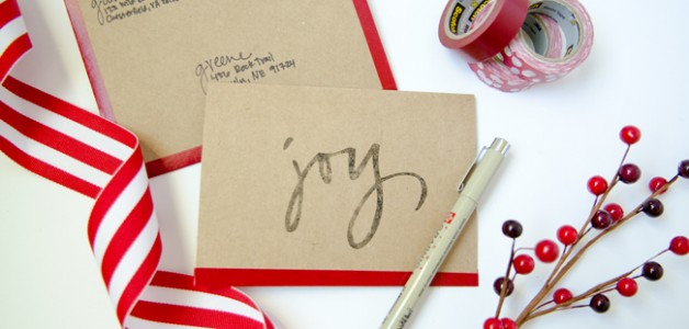 Handmade Holiday notecards using Washi tape.