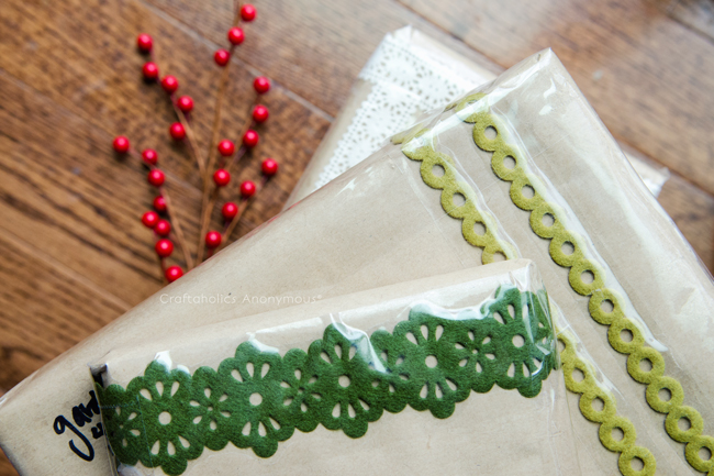 Put lace or trim under your shipping tape for a festive holiday shipping idea!