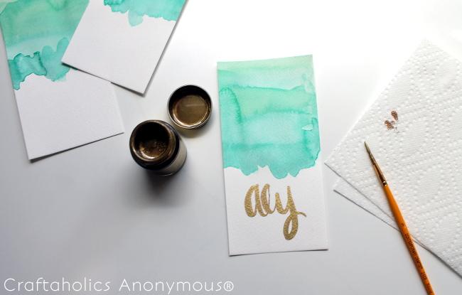 DIY Watercolor Placecards