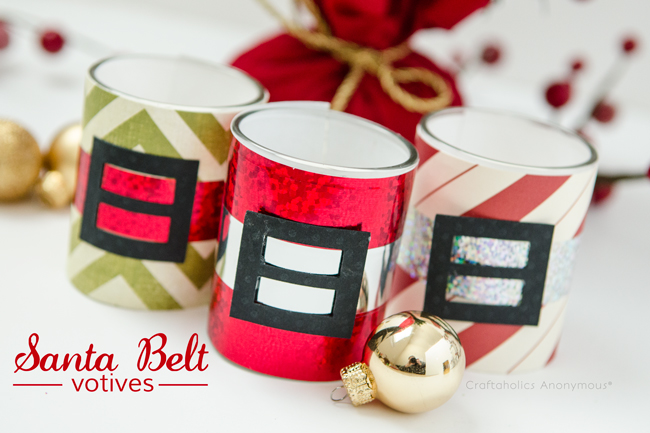 Santa Belt Votives. These make fabulous handmade gifts and holiday party favors!