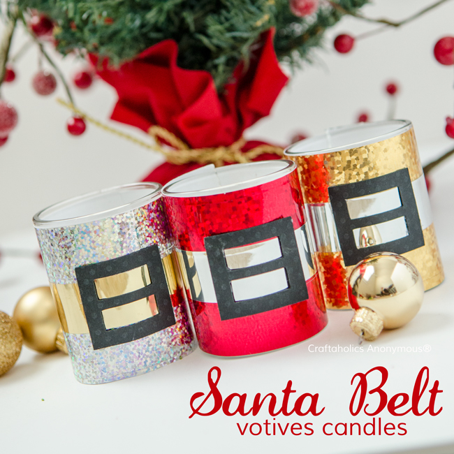 Festive Santa Belt Votive candles holders. These make handmade Christmas gifts or party favors!