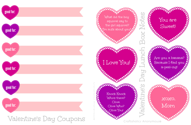 image relating to Printable Valentine Picture called Craftaholics Anonymous® Printable Valentines Working day Lunch Box