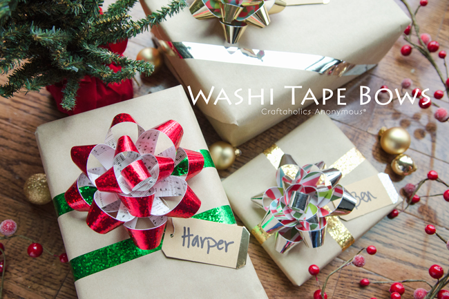 Washi Tape Bows. Make your own gift bows! Use sheet music for the music lover.