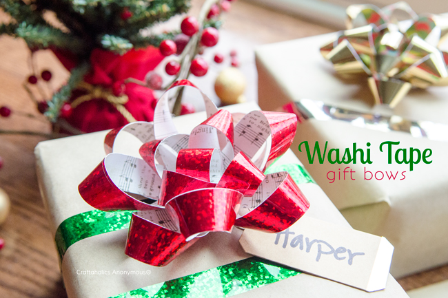 Washi tape Gift Bows. Make your own Christmas Gift Bows with washi tape and scrapbook paper. Love the idea using Sheet music for the music lover!