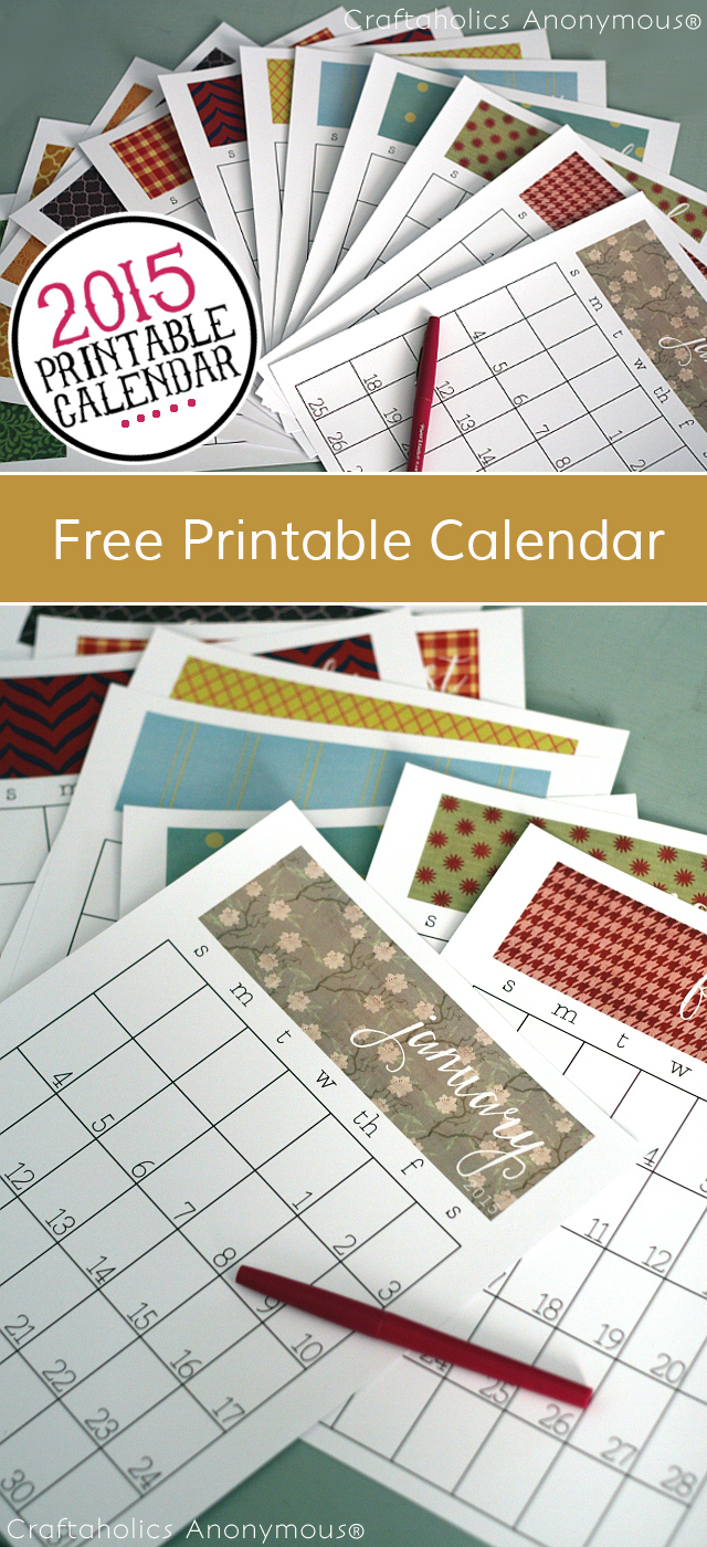2015 Printable Calendar for 8.5 x 11