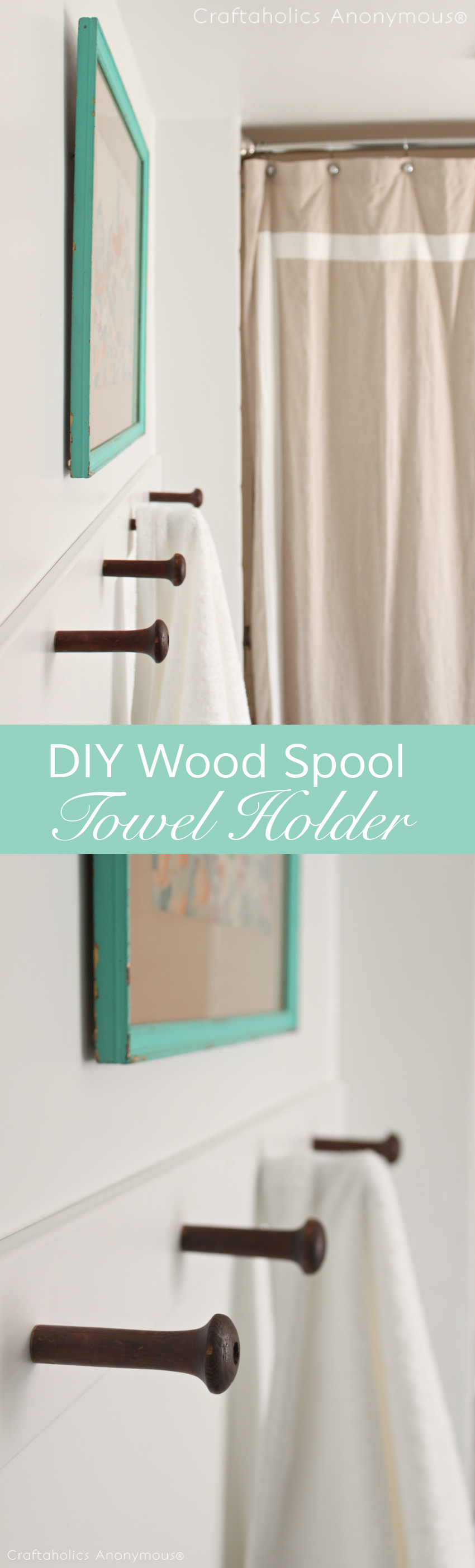 DIY Towel Holder Tutorial || She uses vintage wood spools for the hooks.