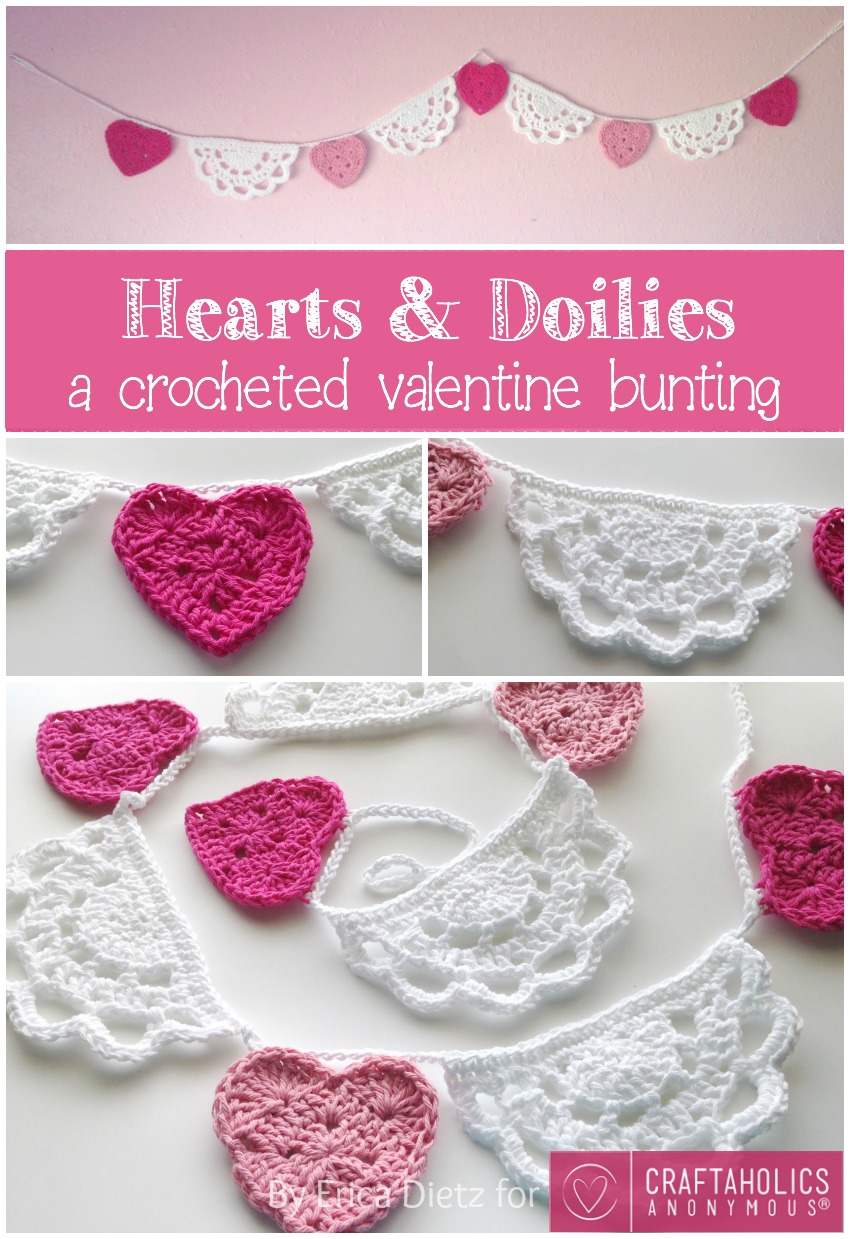 Craftaholics Anonymous Hearts And Doilies Crochet Valentine Bunting Tutorial