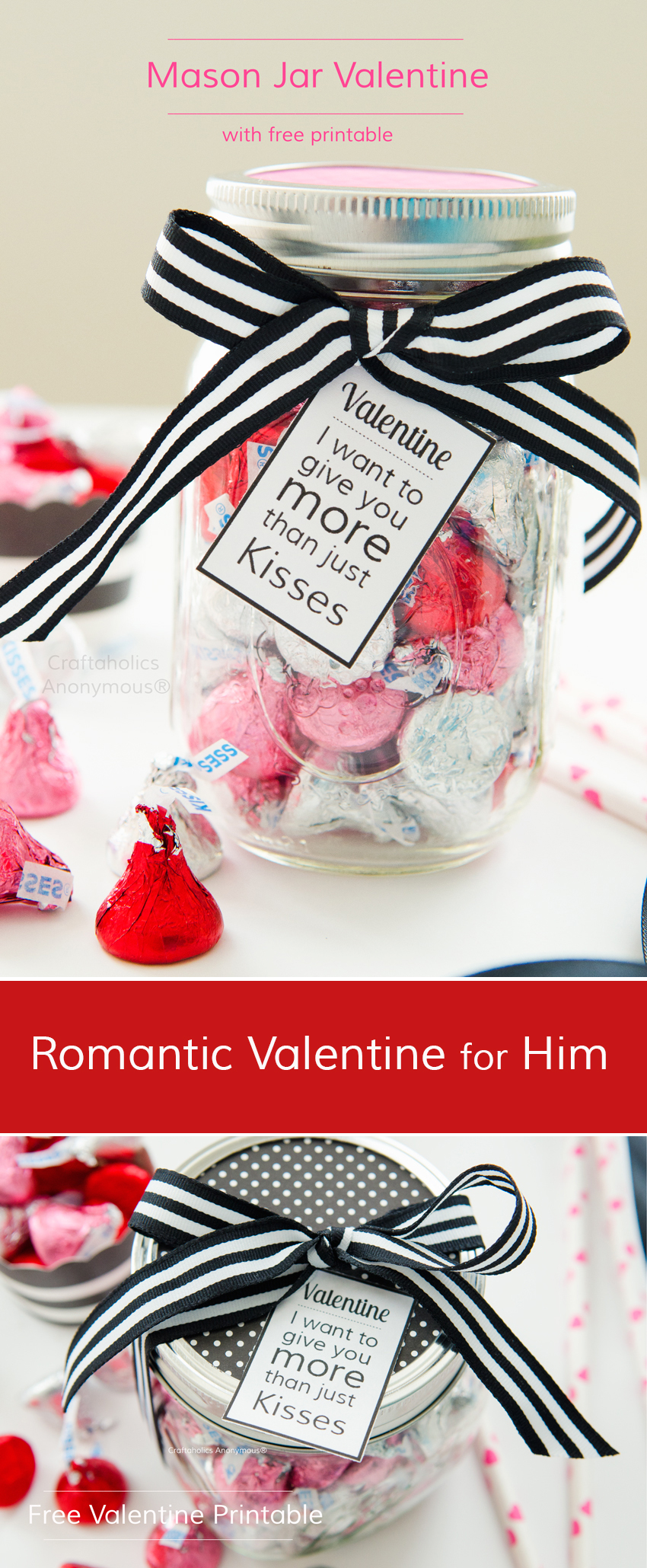 Romantic Mason Jar Valentine for Him || Costs about $5 to make