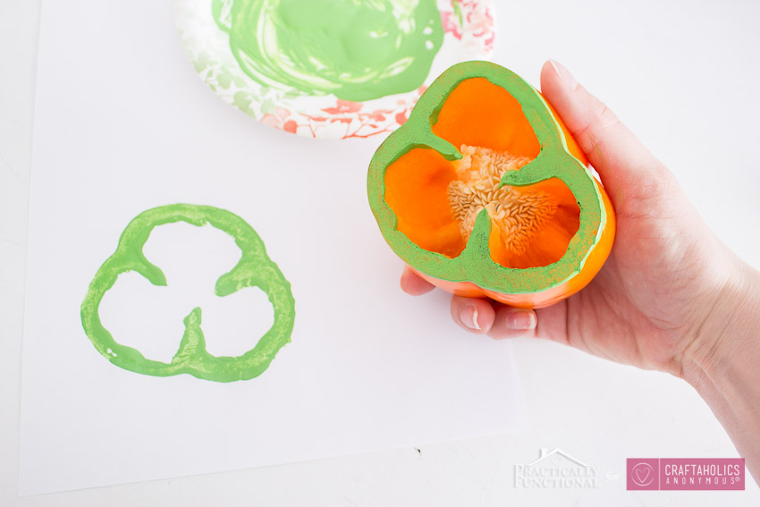 Bell pepper stamps for kids || St. Patrick's day kids craft idea