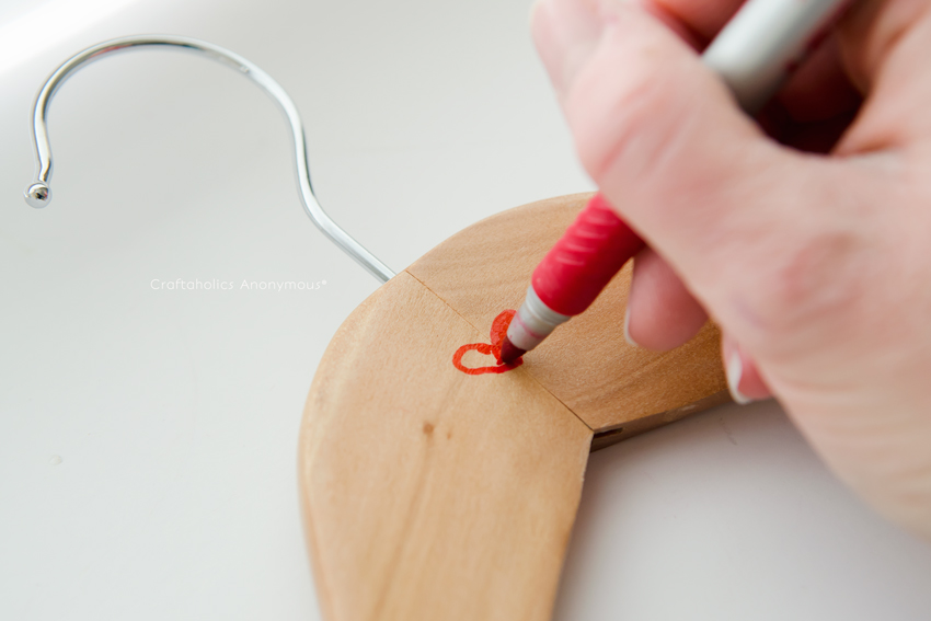Add a Red Heart to wood hangers for a simple, thoughtful Valentine.
