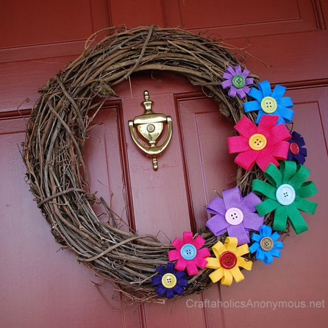 colorful felt flower spring wreath