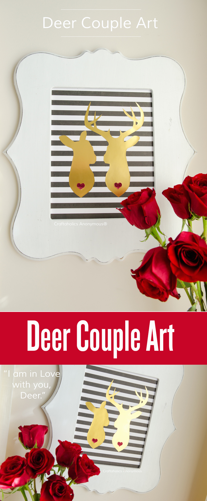 DIY Deer Couple Art || Would be cute for Valentine's Day or a Wedding