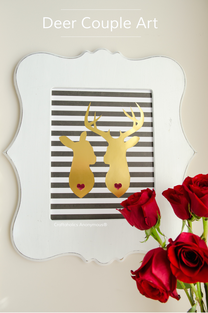 Deer in Love art || This is super easy to make! Wouldn't this be a fabulous wedding gift idea?!