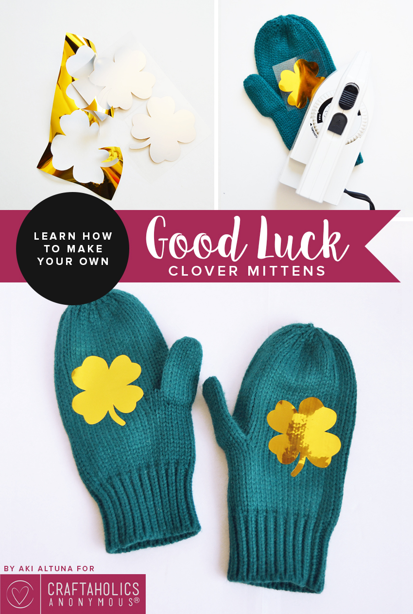 St. Patrick's Day shamrock mittens    Share the good luck!