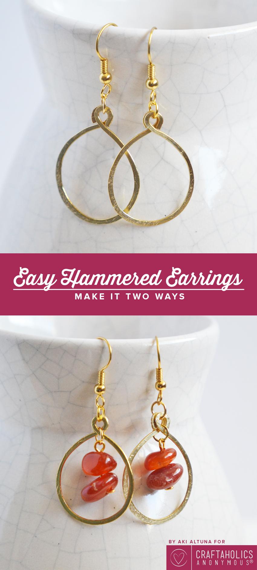 DIY Hammered Earrings tutorial